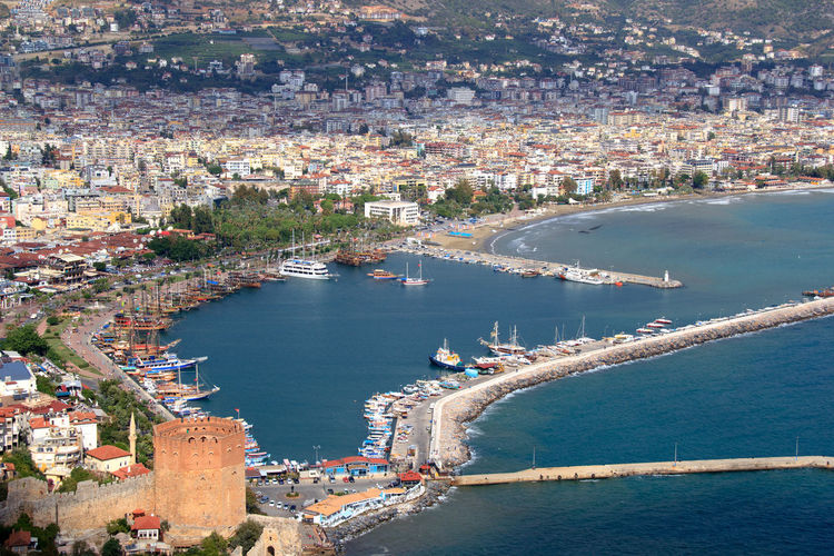 High Angle Shot Of Townscape With Sea In Foreground