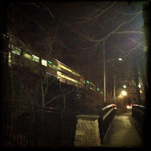Park Night Lights Train Station Train nj Path Walk Millburn Papermill
