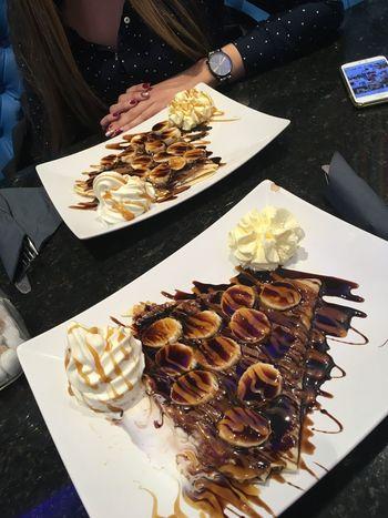 Gelato JoJo's Brighton Uk Ice Cream Chocolate Sauce Bananas Pancakeporn Pancakes Dessert Porn Desserts Foodporn Food High Angle View Indoors  Real People Table Plate Ready-to-eat Day Food Stories