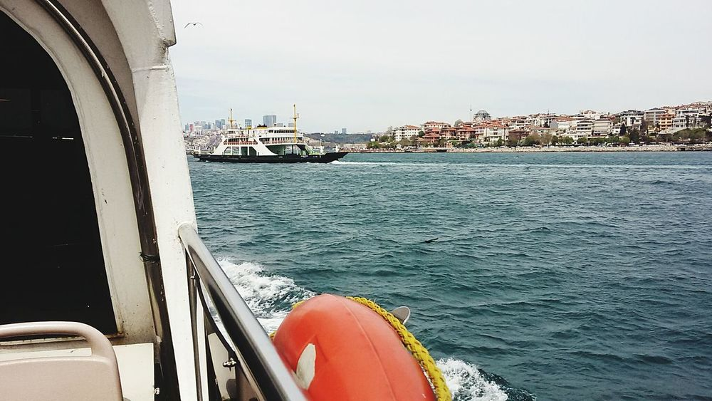 Architecture City Cityscape Built Structure Building Exterior Urban Skyline Business Finance And Industry Travel Sky Sea Mode Of Transport Low Angle View Travel Destinations Residential Building Cloud - Sky Looking To The Other Side Istanbul Turkey Looking At View Sealife Sea And Sky