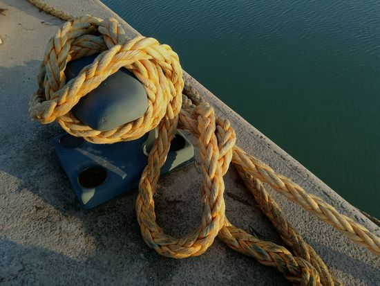 Mooring Rope High Angle View Pair Close-up No People Day