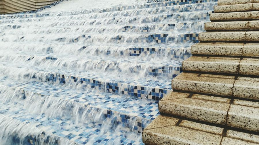 Water flowing on stairs