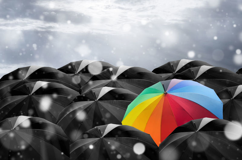 Umbrella in mass of black umbrellas. Umbrella Leadership Crowd Out Concept Business Leader Standing Black Individuality Unique Blue Team Red Different Contrast Special Group Inspiration Protection Color Success Choice STAND Background Work Competition Weather Motivation Solitude Abstract Rain Creativity Security Challenge Winning Manager