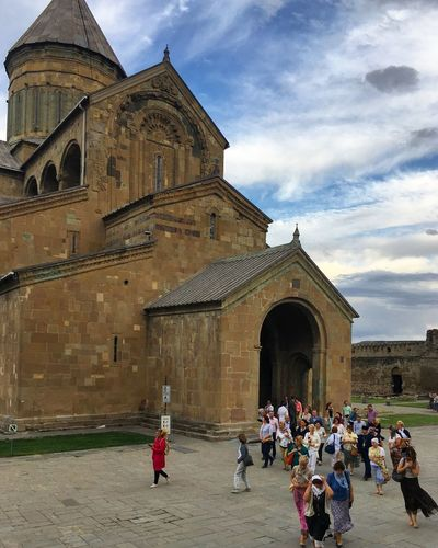 Svetiskhoveli cathedral in Mtskheta Place Of Worship Spirituality Built Structure Building Exterior Real People first eyeem photo