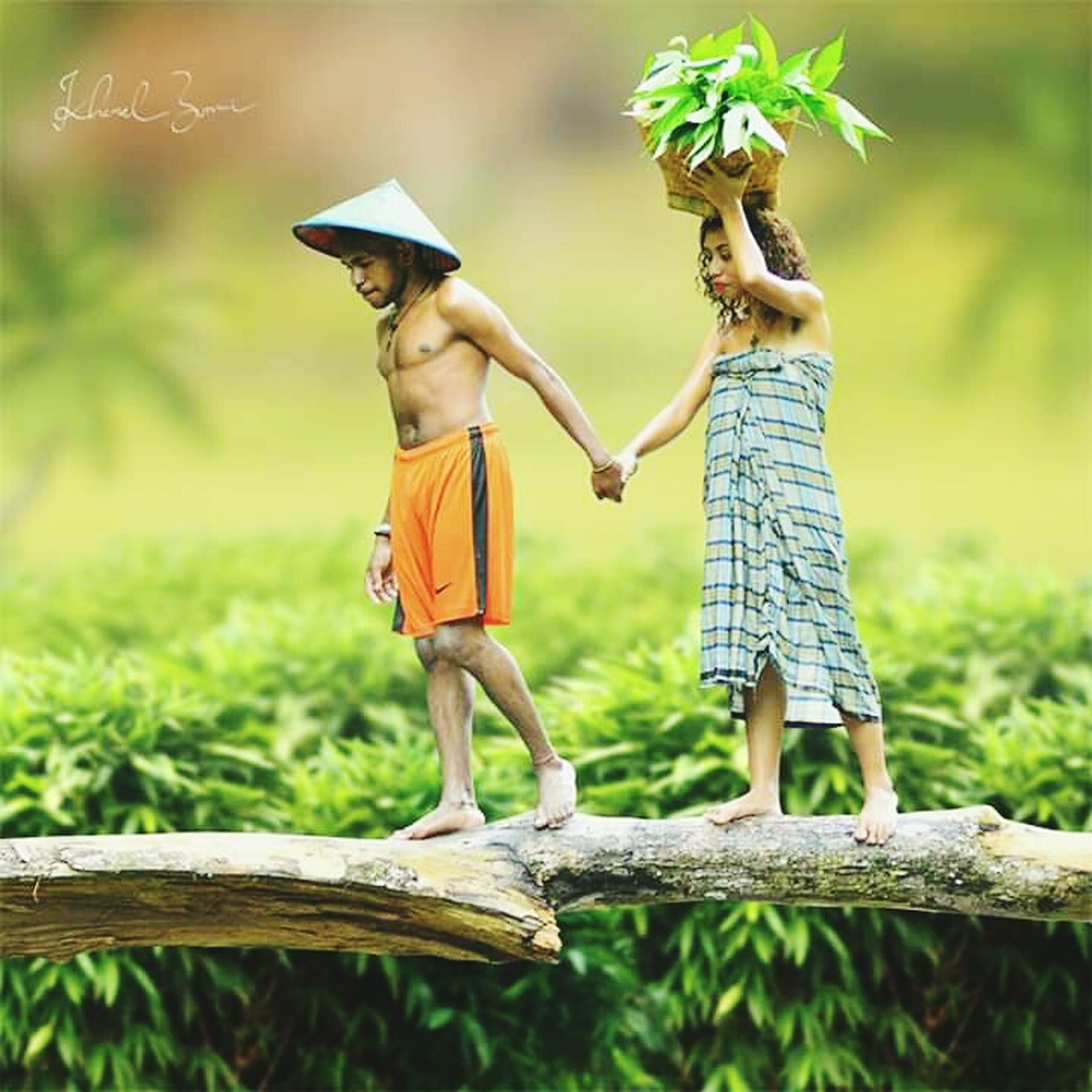 two people, plant, childhood, child, nature, togetherness, full length, standing, men, males, offspring, people, grass, boys, side view, day, casual clothing, women, holding, bonding, outdoors