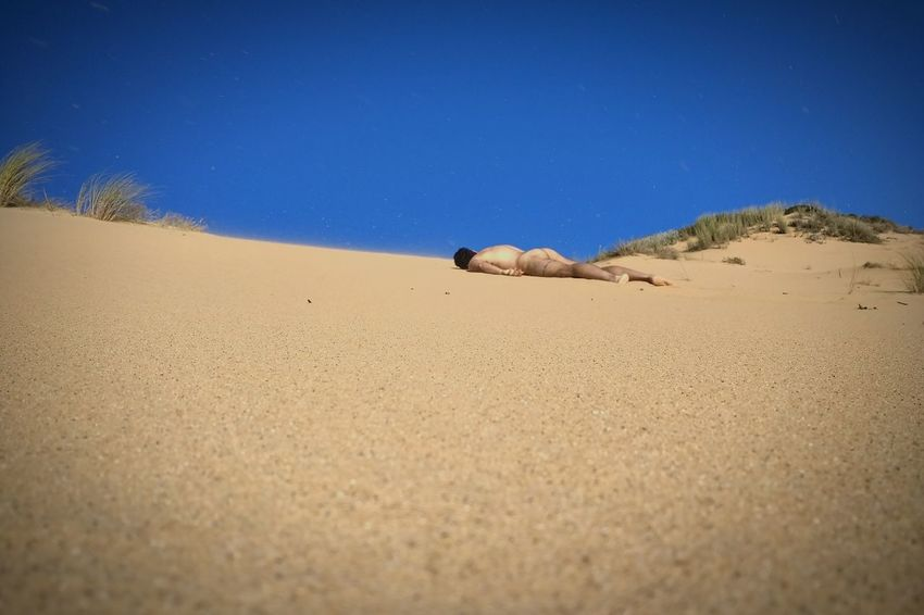 Sand Blue Beach Tranquility Clear Sky Nature Summer Beauty In Nature Non-urban Scene Remote Calm Sandy Outdoors Day Minimalism Guy beard