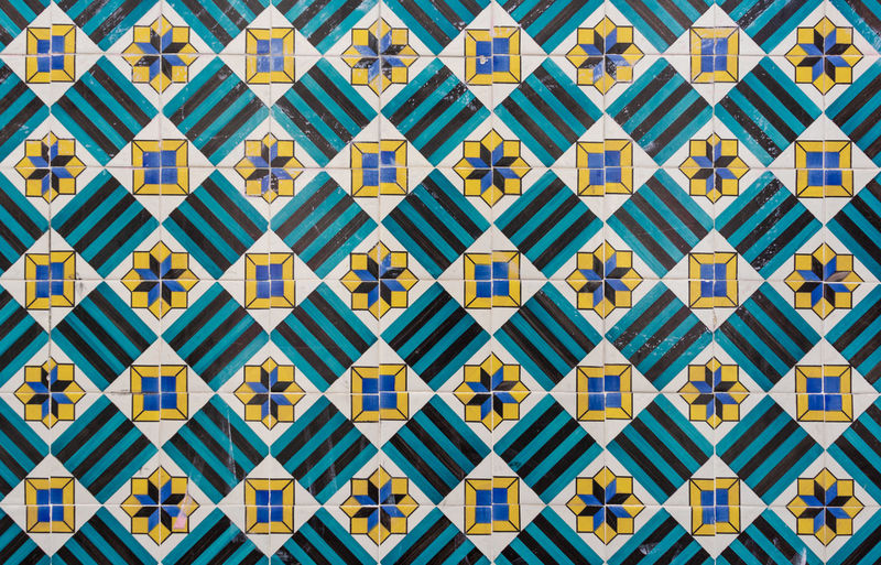 Star stripe and square patterned portugese tiles texture