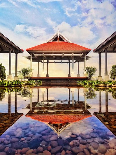 Architecture Reflection Cloud - Sky Built Structure Water Sky Day Swimming Pool No People Symmetry Building Exterior Reflecting Pool Outdoors Tree Nature Beauty In Nature EyeEmNewHere The Week On EyeEm Design Thailand Phuket,Thailand Still Life Style Amazing Amazing View