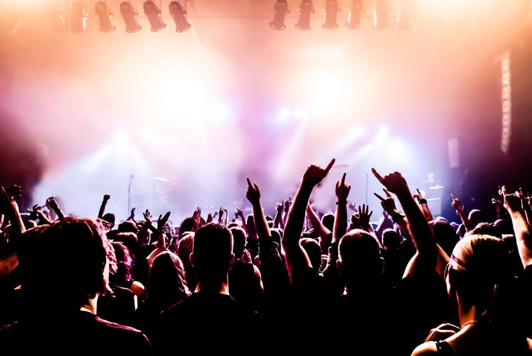Crowd With Arms Raised During Concert