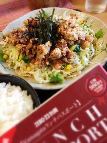 鶏唐サラダ定食。ランパスで780円→500円♪ IPhoneography Foods Lunch Passport