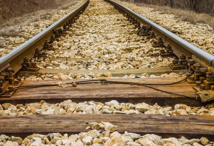 Close-up of railroad tracks
