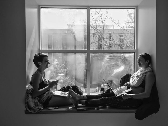 California winter: students prepare for finals week this afternoon. Alternate Reality... California Finalsweek Library ALCÔVE Student Life Street Photography Blackandwhite Young Women Indoors  Lifestyles Real People Friendship