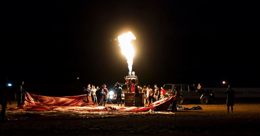 Burning Field Fire Flame Hot Air Balloon Illuminated Night Outdoors Pampanga Philippines
