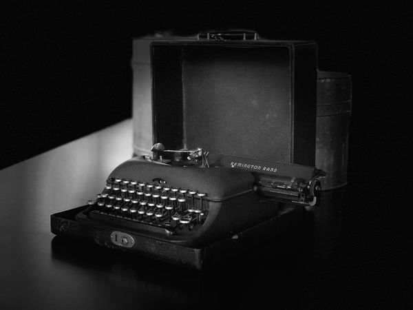Still Life Indoors  Table Single Object Black Background No People Close-up Technology Studio Shot Old-fashioned Typewriter Keyboard Old School IPhoneography JoMo Photo