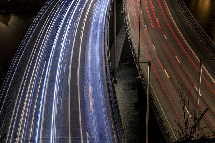 Traffic in Stockholm Motion No People Speed Long Exposure Light Trail Night Transportation Blurred Motion Architecture Illuminated Nature Highway Outdoors Red Road Industry Technology Blue Multiple Lane Highway Stockholm, Sweden Essingeleden High Angle View Nightphotography