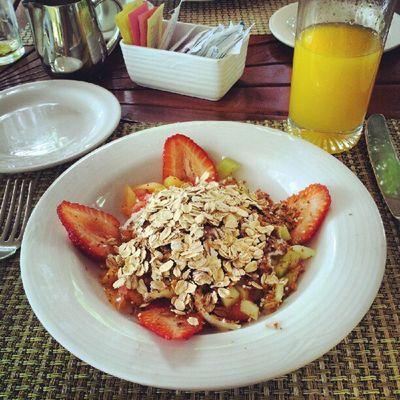 My morning muesli and fresh fruit