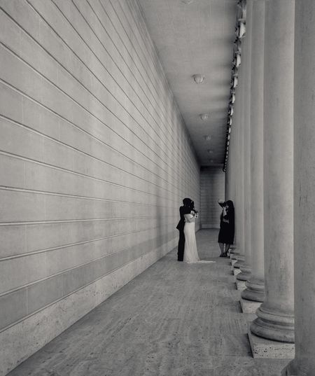 Woman walking in corridor