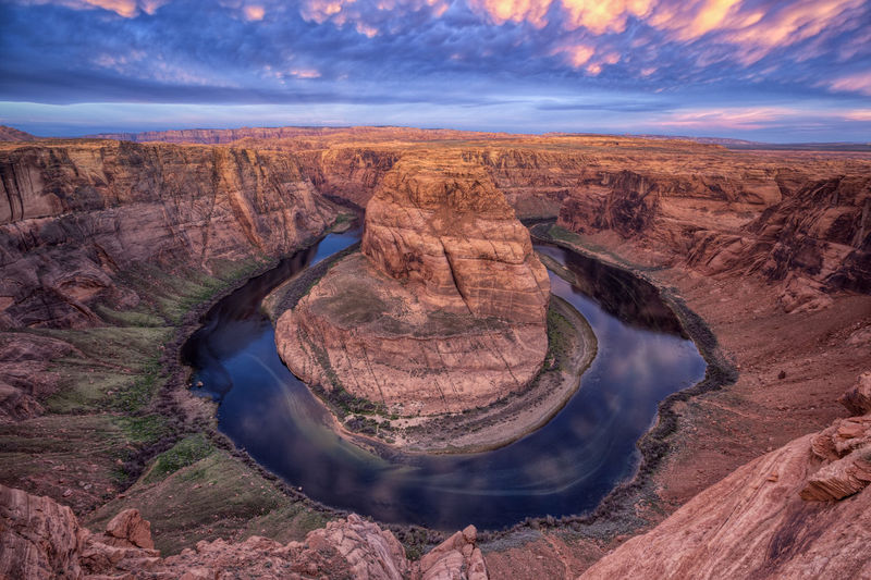 High Angle View Of Horseshoe Bend During Sunset