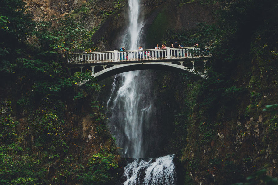 Architecture Beauty In Nature Bridge - Man Made Structure Built Structure Connection Day Forest Large Group Of People Long Exposure Motion Mountain Nature Oregon Outdoors People Scenics Speed Tree Water Waterfall Waterfalls