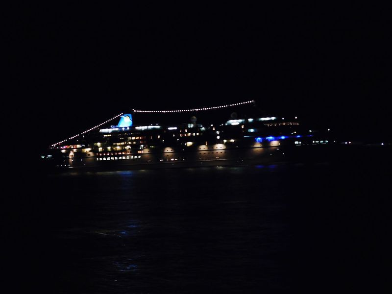Night Illuminated River Water No People Clear Sky Ship Cruise Liner
