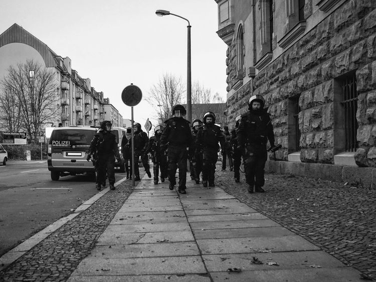 Anxiety  Blackandwhite City Day Demonstration Dreaming Front View German Police Leipzig 12.12.15 Outdoors People Police Silhouette Street