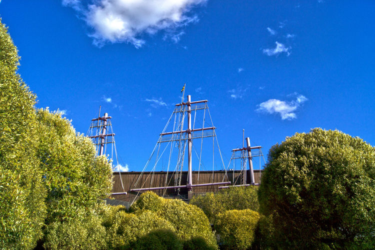 Low Angle View Of Trees And Masts At Vasa Museum Against Sky