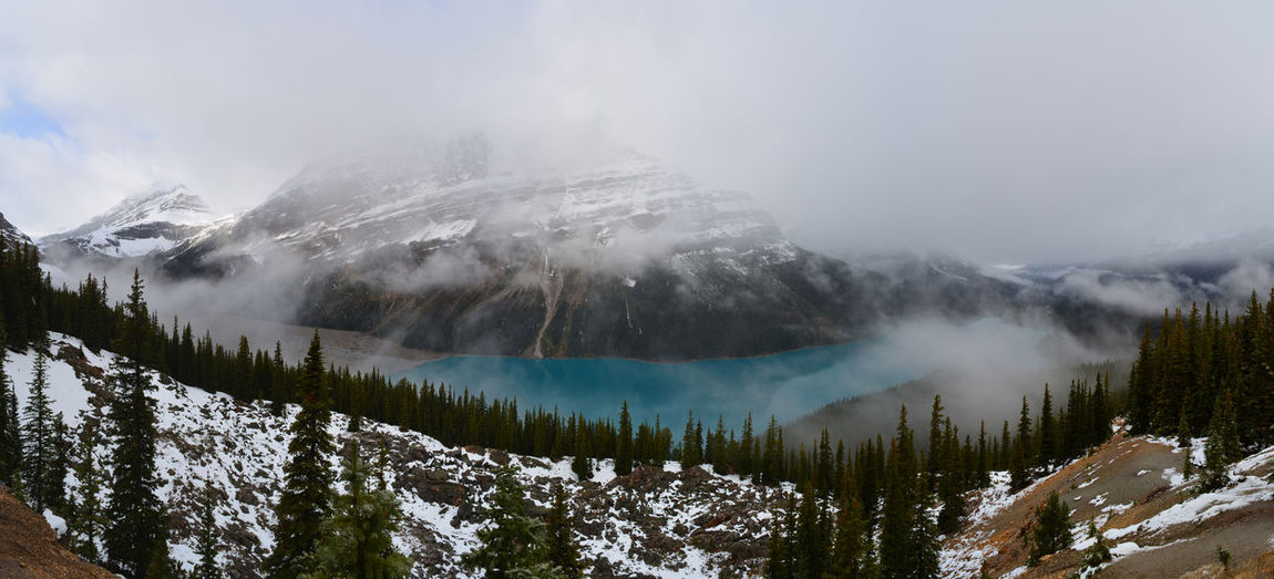 Banff National Park  Jasper National Park Jasper Icefields Parkway Peyto Lake Snowcapped Mountain Landscape Lake Reflection Lake Reflections In The Water Reflections Canada British Columbia Alberta Panoramic Landscape Beauty In Nature