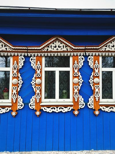 Window EyeEm Selects Built Structure Building Exterior Architecture No People Pattern Wall - Building Feature Blue Design Window Art And Craft Day Building Creativity Floral Pattern House Outdoors Door Text Craft Ornate