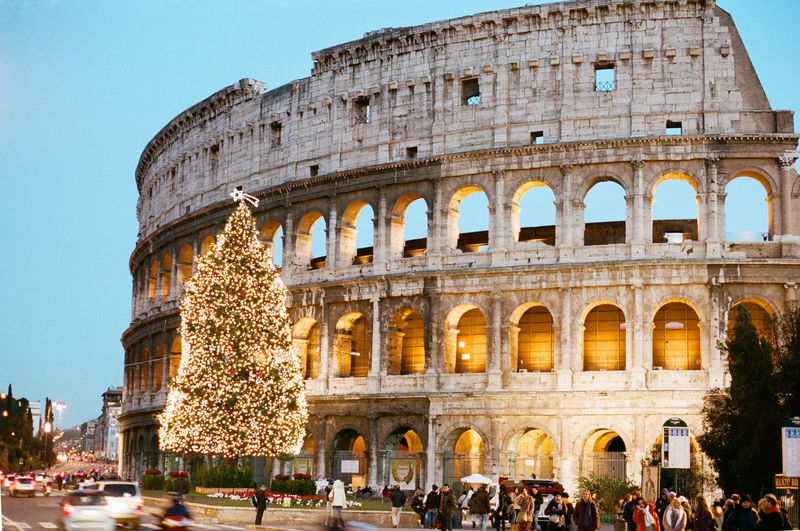 Christmas Around The World Filmisnotdead 35mm Film Canon AE-1 Analog Filmcamera Rome Roma Colloseum Lights Christmastime Merry Christmas