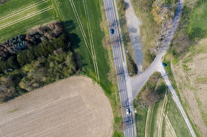 roads & fields in springtime Field Landscape Plant Day High Angle View Land Roads Grass Outdoors Cars Nature
