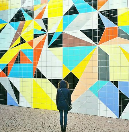 Minimal me no.2 Silhouette Mosaic Yellow Orange Skrwtandroid Candy Art Woman Getting Creative Minimalism Textures And Surfaces Design Surface Architectural Detail Interior Design Wall Facades Patterns Colors Streetphotography People Pattern Pieces Stone Blue