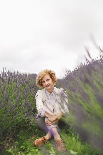 Blonde Casual Clothing Childhood Curly Hair Cute Day Field Focus On Foreground Girl Grass Grassy Growth Lavanda Lavande Lavander Lavander Flowers Lavanderfields Leisure Activity Lifestyles Nature Outdoors Person Plant Portrait Sky Connected By Travel