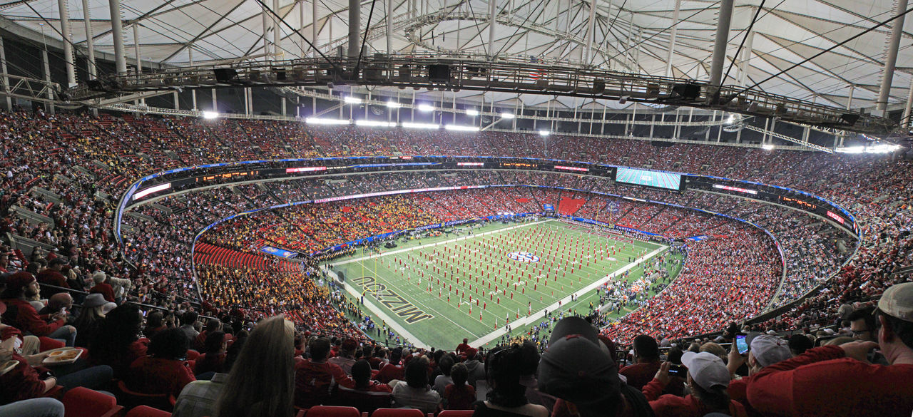 The University of Alabama Million Dollar Band pregame show with elephant during Tusk at Georgia Dome at SEC Championship in 2014 2014 Atlanta Ga Crowd Georgia Dome Large Group Of People Marching Band Million Dollar Band Prega SEC Championship University Of Alabama The Color Of Sport