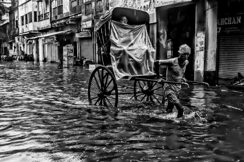 City Life in Rains - Due to heavy rains certain areas of Kolkata face waterlogging. But this does not dampen the spirits of people to go about their daily routine. Here a hand pulled rickshaw, carries a passenger to its destination wading through knee deep water. The waterlogging is due to a cascading effect of years of climate change and ill-drainage facilities. It can be coined under the environmental pollution so common these days across the world. One of the few cities,rickshaws still are a part of local culture Calcutta Debarshi Mukherjee Photography Environmental Portraits India Kolkata Monsoon Transportation Travel Day Debarshimukherjee Environmental Issues People Rickshaw Streetphotography Water Waterlogged Mobility In Mega Cities Colour Your Horizn This Is Masculinity Stories From The City EyeEmNewHere Visual Creativity Adventures In The City Focus On The Story #FREIHEITBERLIN Small Business Heroes The Street Photographer - 2018 EyeEm Awards The Photojournalist - 2018 EyeEm Awards The Portraitist - 2018 EyeEm Awards