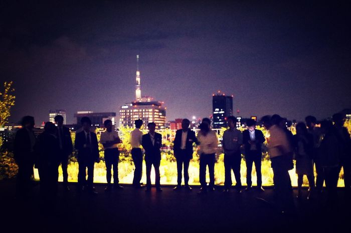 Kick Off Party Workmates Night Lights Backlight People Tokyo Sky Tree Nightphotography RePicture Friendship