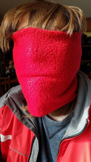 Ready to go skiing Mask person Portrait Ski Skiing Skiing ❄ Ski Mask Funny Hiding Jacket Winter Red Headshot Disguise Spooky Hiding Close-up Mask - Disguise Ski Jacket Cold Temperature Cold Obscured Face