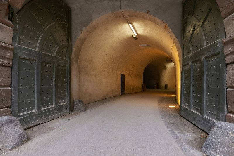 Beautiful corridor and gates at Fortress Ehrenbreitstein in Koblenz Germany Gates Arch Architecture Built Structure Corridor Day Fortress Fortress In Europe Fortress Of Stone History History Architecture Illuminated No People