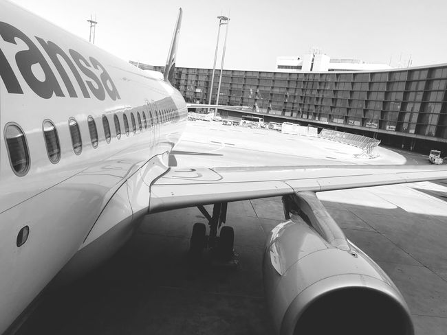 Boarded. Let's go! ✈️ #LH1186 ⇢ ZRH Monochrome Airport Airbus Airplane Sky Transportation Mode Of Transportation Day