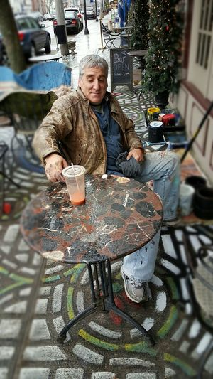 Portrait Of Mural Artist Sidewalk Discoveries I met artist, Robert Ranigan shortly after exiting a diner in E Greenwich, Rhode Island USA. He was touching up his painted sidewalks in the rain beneath an awning. Painting On Sidewalk Mural Art Sidewalk Art Sidewalk Photography EyeEm EyeEm Gallery EyeEm Best Shots S6 The Street Photographer - 2016 EyeEm Awards Rhode Island Photography⚓