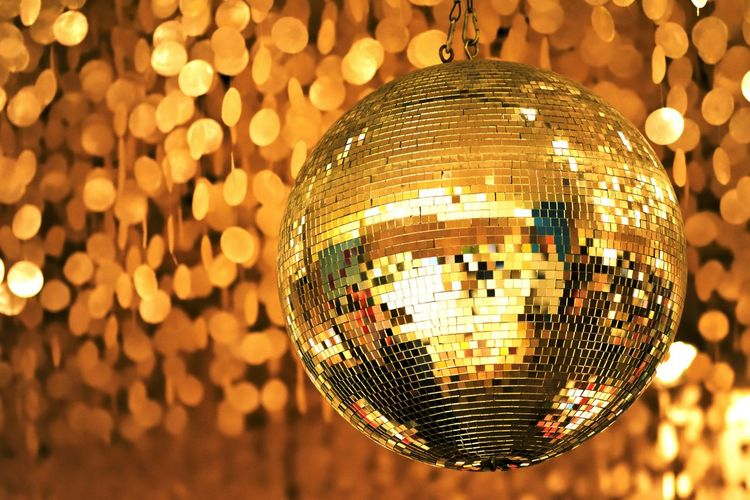 Disco Ball Nightclub Reflection Lighting Equipment Sphere Nightlife Illuminated Hanging Single Object Party - Social Event Night Close-up No People Disco Dancing Celebration Shiny Indoors  Dance Floor Creative Light And Shadow Capture The Moment Still Life Low Angle View Gold BYOPaper!