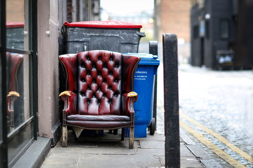 Out with the trash Chair London Red Chair Sidewalk The Week On EyeEm Trash Day Expired No People Outdoors Outwiththetrash Red Street Street Photography Streetphotography Thrown Away Worn Postcode Postcards
