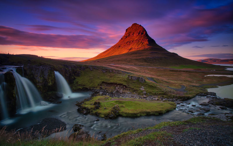 Mt. Kirkjufell, Snaefellsness Peninsula - West Iceland Iceland Kirkjufell Mountain View Beauty In Nature Cloud - Sky Environment Flowing Flowing Water Idyllic Long Exposure Mountain Mountain Peak Nature No People Non-urban Scene Rock Rock - Object Scenics - Nature Sky Solid Sunset Tranquil Scene Tranquility Water Waterfall