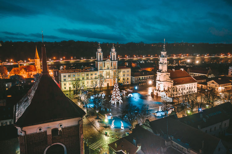 Kaunas old town Drone  Aerial View Aerial Mavic Mavic 2 Mavic 2 Pro Birds Of EyeEm  Europe Kaunas Old Town Night Xmas christmas tree Christmas Lights Town Hall Square Building Exterior Architecture Built Structure City Illuminated Building Sky Place Of Worship High Angle View Cityscape Nature Religion Belief Travel Destinations No People Spirituality Residential District Capture Tomorrow