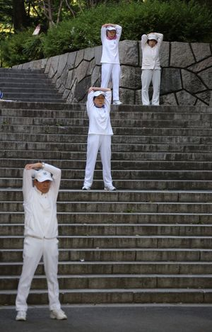 Morning stretching In Shinjuku Adults Only Adult Protective Workwear Men Research Scientist Standing