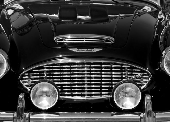 Austin Healey vintage car close up Austin Healey Car Close-up Day Front View Headlight Land Vehicle Lighting Equipment Luxury Mode Of Transport No People Old-fashioned Outdoors Speedometer Transportation Vintage Car