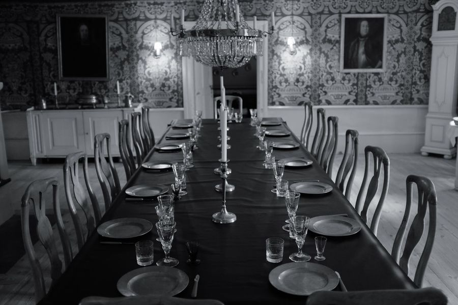 Candle Haunted House Reunion  Absence Candlelight Chair Chandelier Diner Haunted Indoors  Luxury Manor Manor House Mansion No People Place Setting Table Wineglass