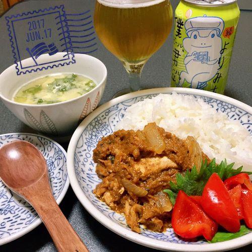 晩ごはん カレーライス カレー ピクルス パプリカ 赤パプリカ ビール 缶ビール Beer Curry Curry Rice Soup