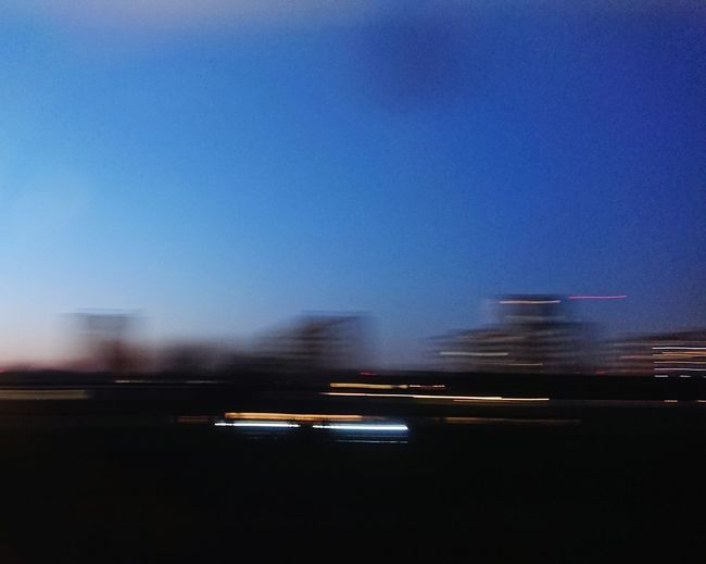 Motion Blur Out Of Focus Train Travel City Illuminated Speed Airport Runway Blurred Motion Sky Light Trail Moving Passenger Train