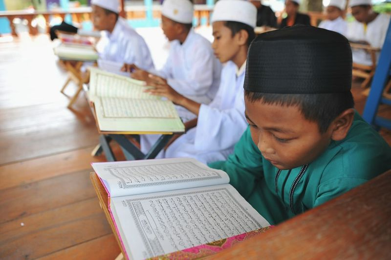 Group Of People Kids Indoors  Reading Al-Qur'an Sitting Side By Side Kopiah EyeEm Diversity Wearing Robes Religion Muslim Malaysia EyeEmNewHere