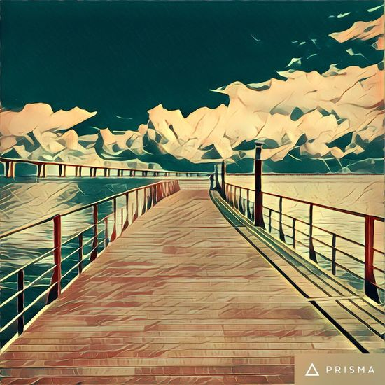 Tejo Railing The Way Forward Clear Sky Connection Water Narrow Long Blue Day Mountain Range Sea Calm Mountain Tranquil Scene Ocean Multi Colored Tranquility Wood Paneling Solitude Majestic Prisma App